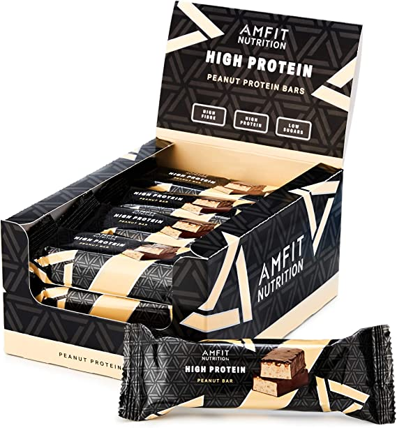 Marca Amazon - Amfit Nutrition Barra de proteína baja en azúcar (19,5gr proteina, 1,7gr azúcar), Cacahuete, Pack de 12 (12x60g)