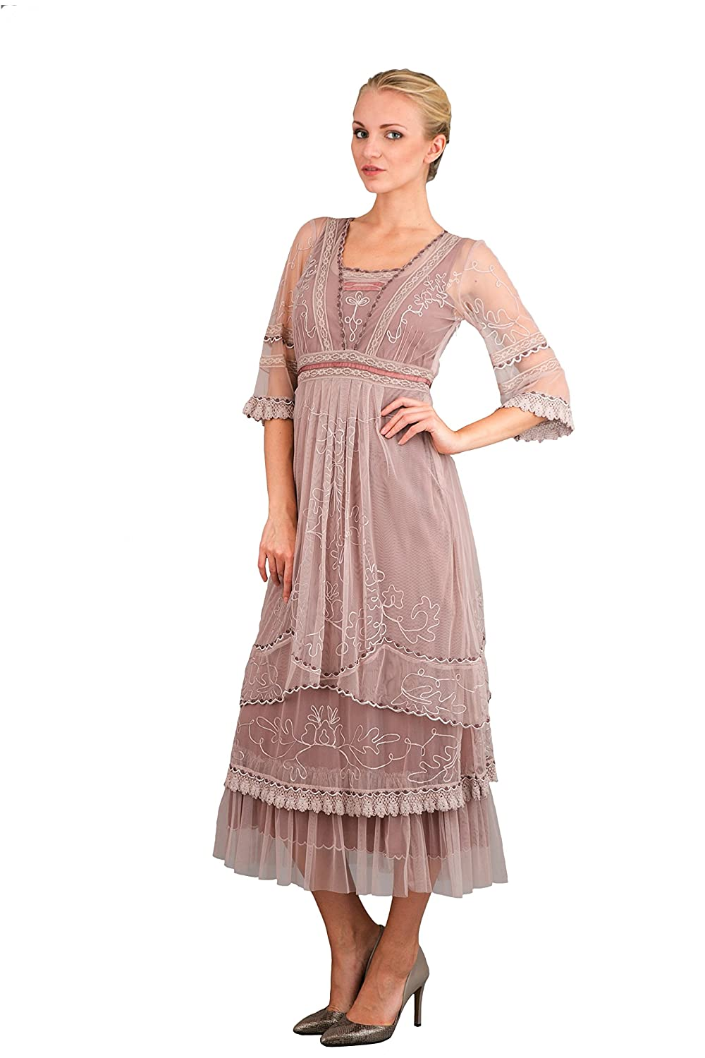 Edwardian Style Dresses Art Deco Gatsby Party Dress in Amethyst $338.00 AT vintagedancer.com
