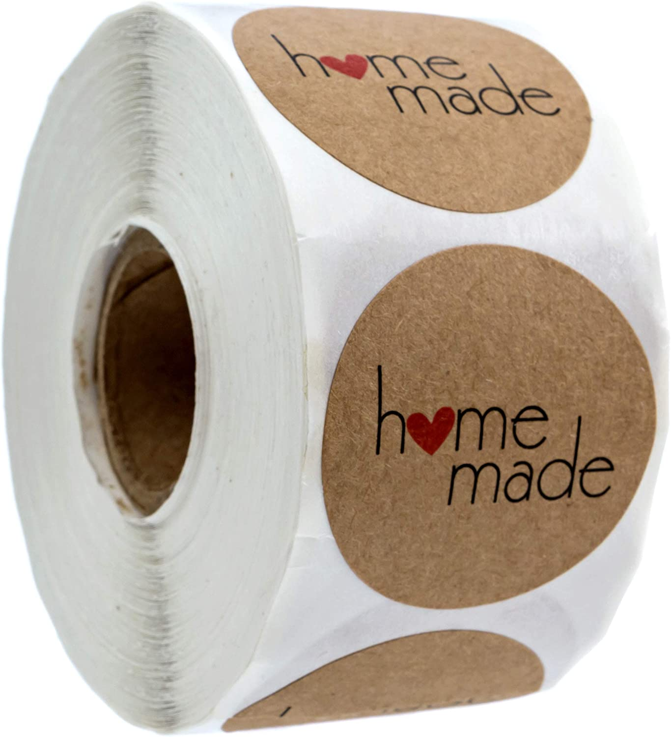"1.5"" Inch Round Natural Kraft Home Made Stickers / 500 Labels per roll"