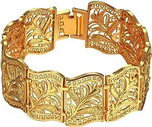 Trendy Fashion 18K Real Gold Plated Fancy Chain ChunkyBracelets Bangles