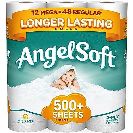 angel soft toilet paper 12 mega rolls bath tissue amazon com