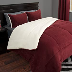 Lavish Home 66-401-K-B 3 Piece Sherpa/Fleece Comforter Set, King, Burgandy, Burgundy