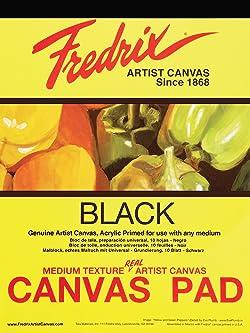 Tara Materials Fredrix 12x16 Black Canvas Pad 10 Sheets, 12 x 16 Inches,