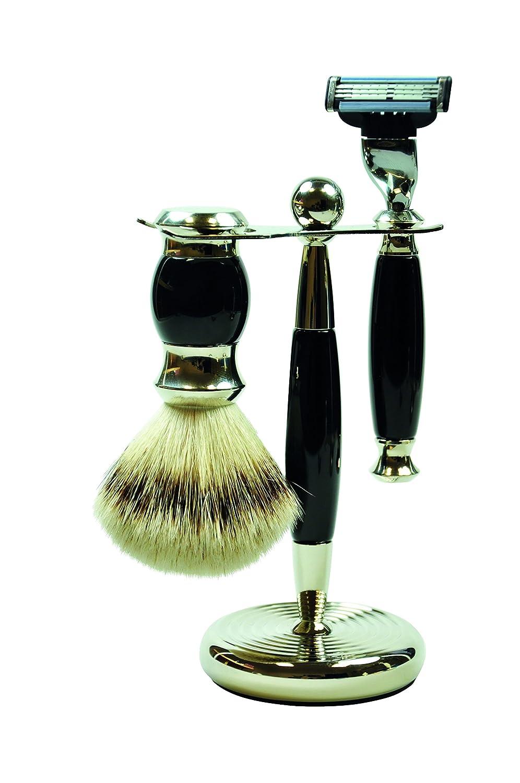 GOLDDACHS Shaving Set, MACH3, silvertip badger hair, black/silver 7643192611