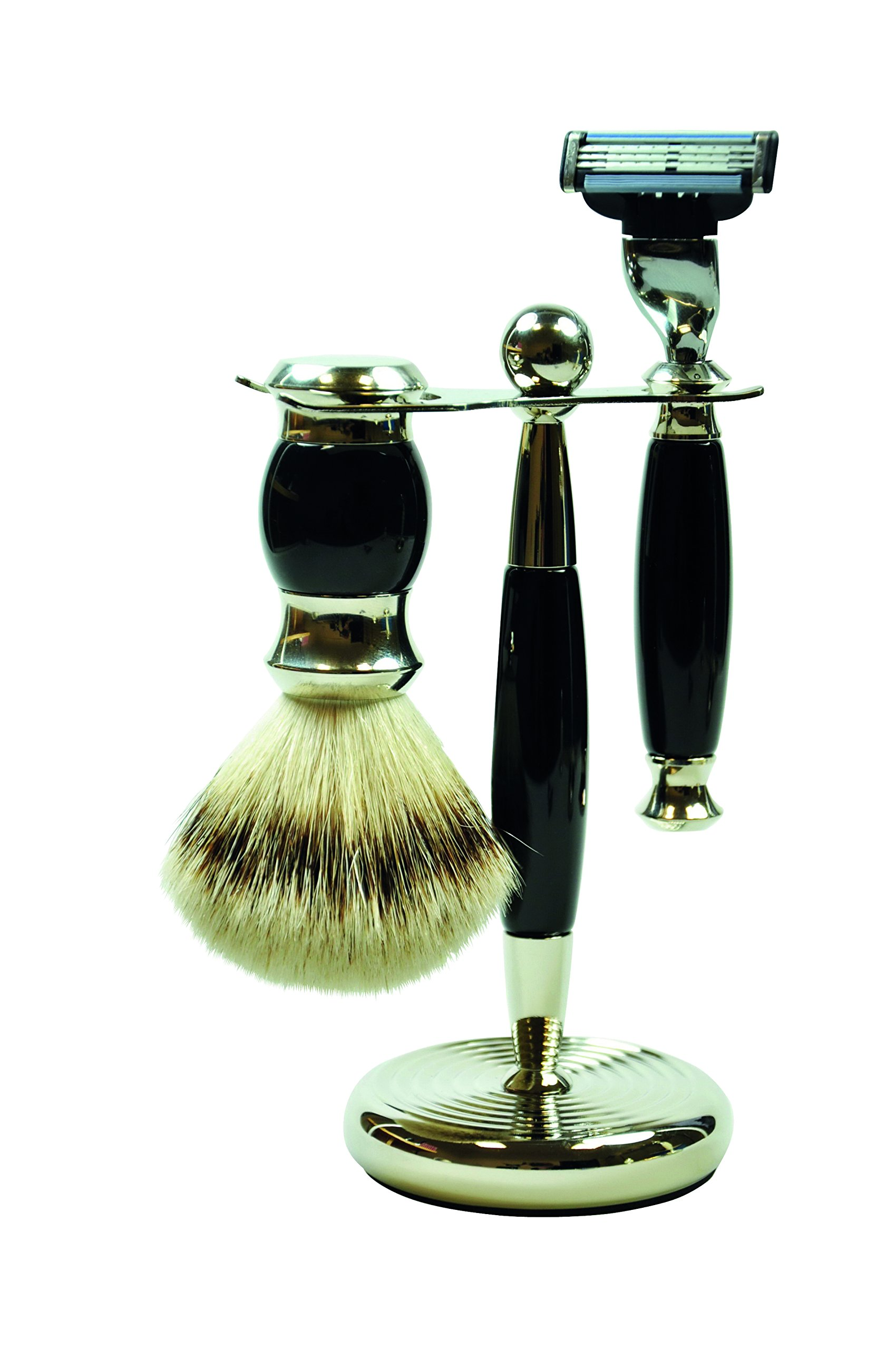 Pfeilring Germany Original Golddachs Vintage Shaving Set, Mach3 Razor Handle, Silvertip Badger Brush, Chrome Stand, 3 Piece