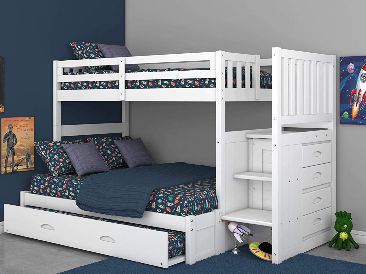 Amazon Com Twin Over Full Stair Stepper Bed With Trundle In White