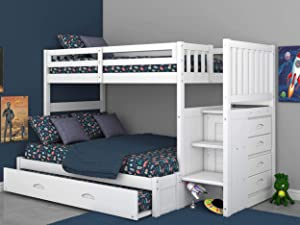 Discovery World Furniture Twin Over Full Stair Stepper Bed with Trundle