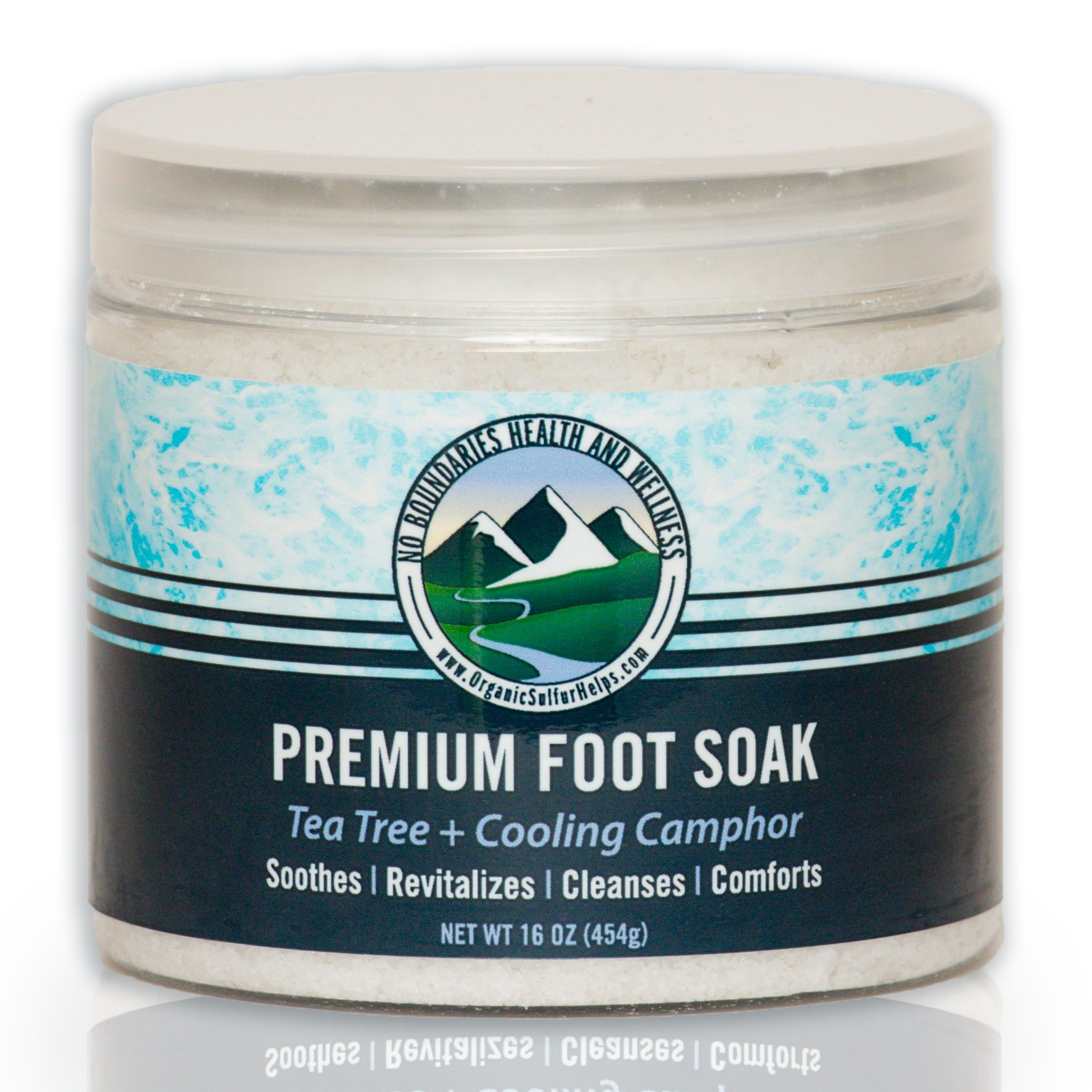 Premium Tea Tree Oil + Cooling Camphor Foot Soak by No Boundaries Health and Wellness – Peppermint, Rosemary, Cajeput Essential Oils, Epsom & Dead Sea Salts, MSM Organic Sulfur – Soothe Feet