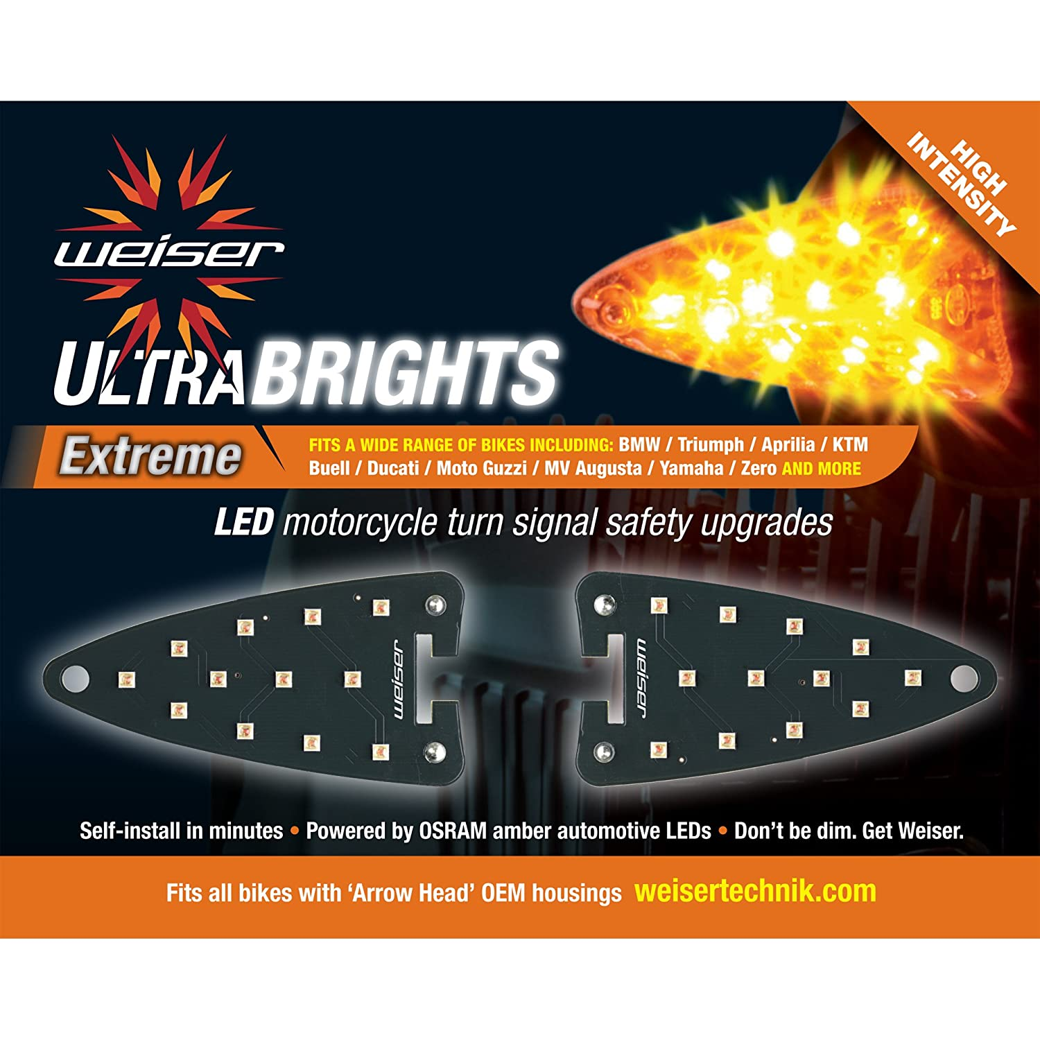 Ultrabrights Extreme LED Turn Signal Upgrades for Aprilia, Triumph, KTM, Buell, Ducati, MV Augusta, Moto Guzzi, Triumph, Yamaha and Zero Motorcycles Weiser Technik