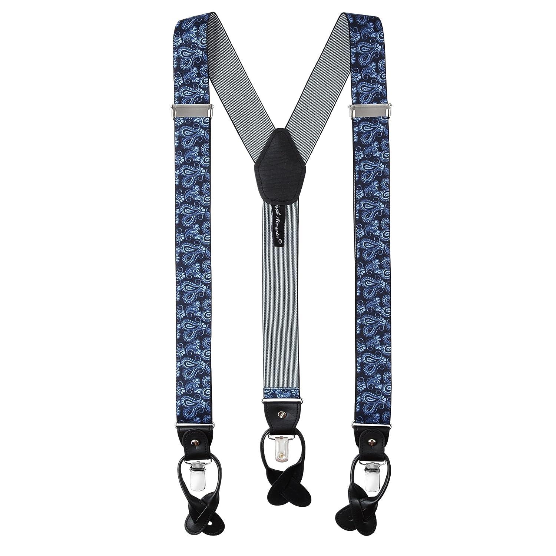 Jacob Alexander Men's Paisley Suspenders Braces Convertible Leather - Navy SUPRST6115