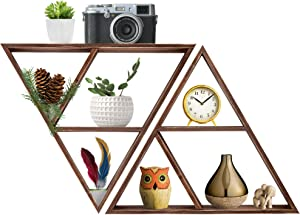 Triangle Floating Shelf: Wall Mounted Rustic Wooden Decor Organizer | Unique Hanging Geometric Farmhouse Shelves for Home, Bedroom, Living Room, Kitchen | Decorative Wood Storage - Set of 2
