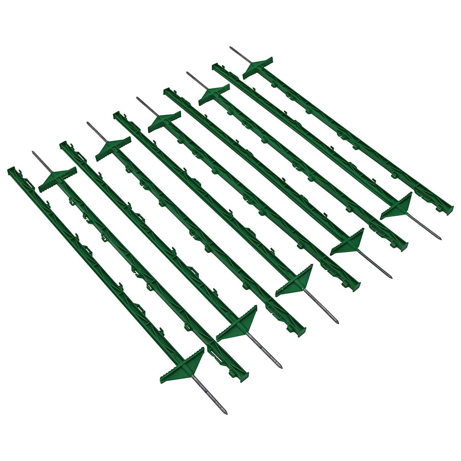 Oypla 1m Green Plastic Electric Temporary Fence Fencing Pins Posts Stakes Pack of 10