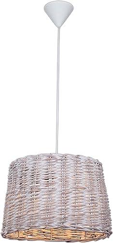Wofi Padua - Lámpara de techo (pantalla de mimbre), color blanco: Amazon.es: Iluminación