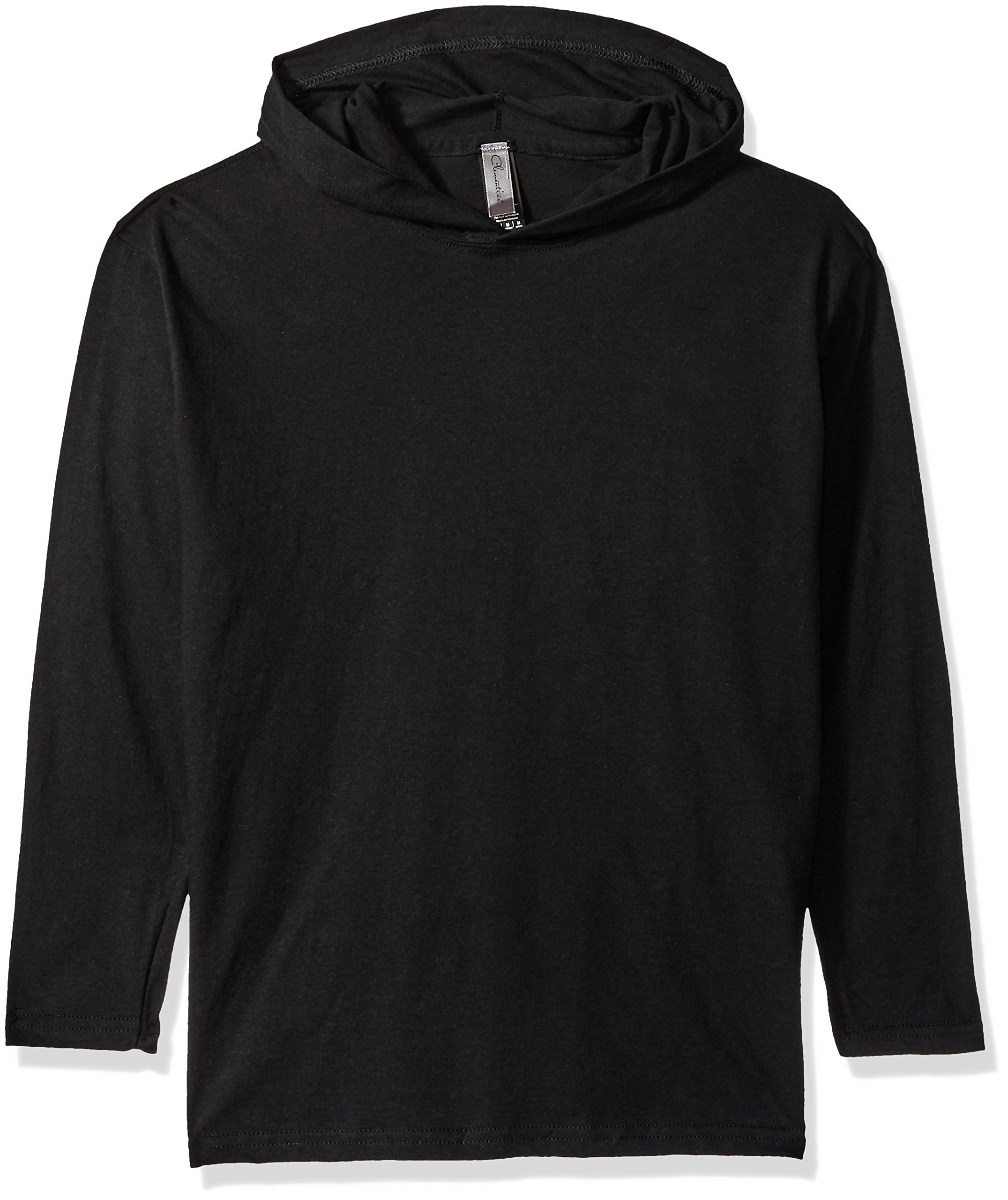Clementine Big Girls' Youth Soft and Light Long-Sleeve HoodedT-Shirt, Black, M