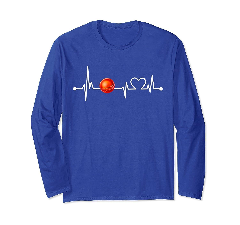 8e95247c3 Funny Cricket Player Heartbeat Cricket Gift Long Sleeve-ah my shirt ...