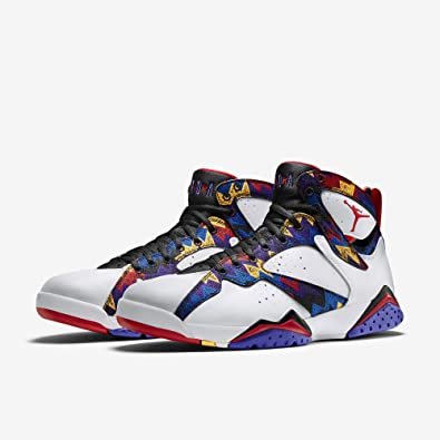 40bcbda86e55 Nike Mens Air Jordan 7 Retro Sweater White University Red-Bright Concord  Leather Size