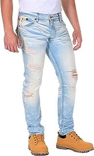 product image for Robin's Jean Red Label Slim Fit Studded Flap Distressed Denim 5D Light Broken