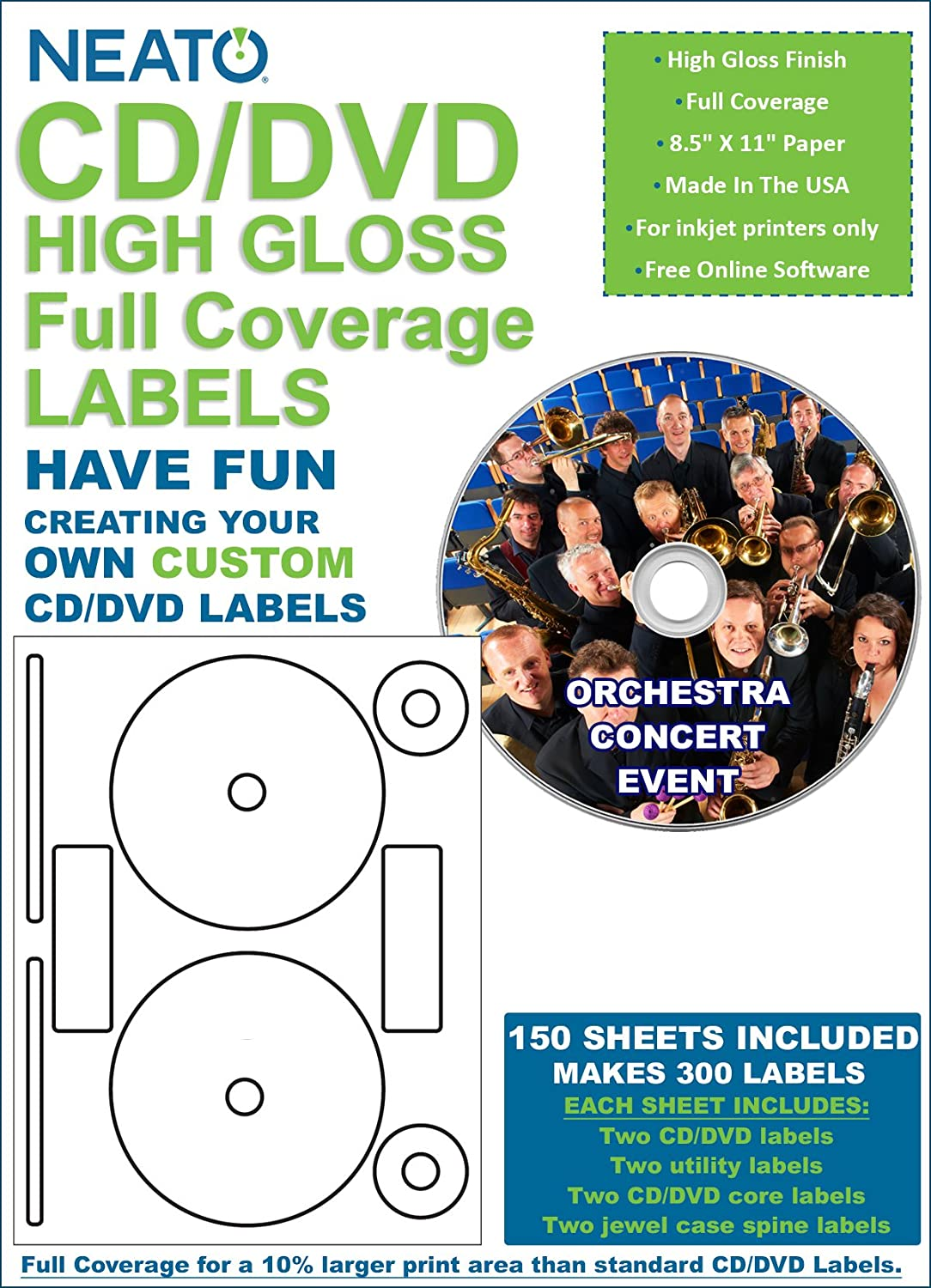 Amazon Com Neato Full Coverage High Gloss Photo Quality Cd Dvd Labels 300 Labels 150 Sheets Free Online Design Software Included Office Products