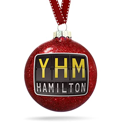 Hamilton Christmas Ornament.Amazon Com Neonblond Christmas Decoration Yhm Airport Code