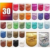Mica-poeder 30 kleuren (10 g / 0,35 oz, totaal 300 g / 10,5 oz), MENNYO natuurlijke pigmenten Glitter epoxyharsverf voor…