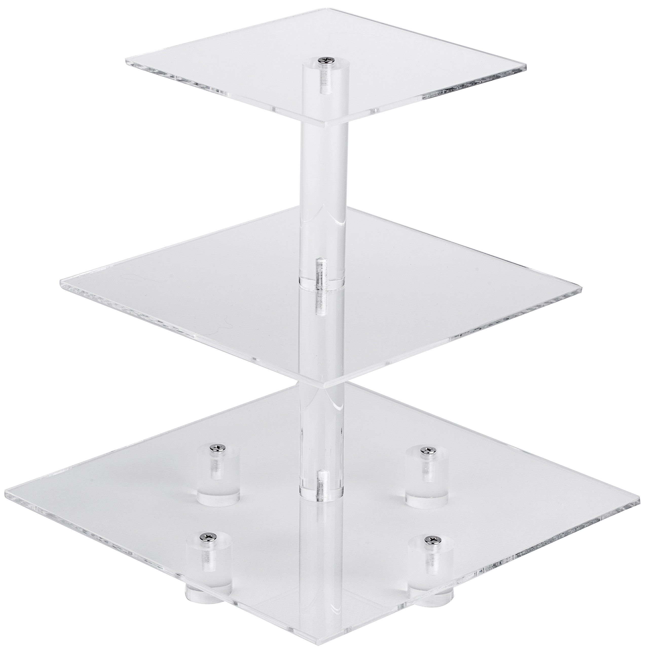 YestBuy 3 Tier Maypole Square Wedding Party Tree Tower Acrylic Cupcake Display Stand 3 Tier Square with Base(4.7'' between 2 layers)