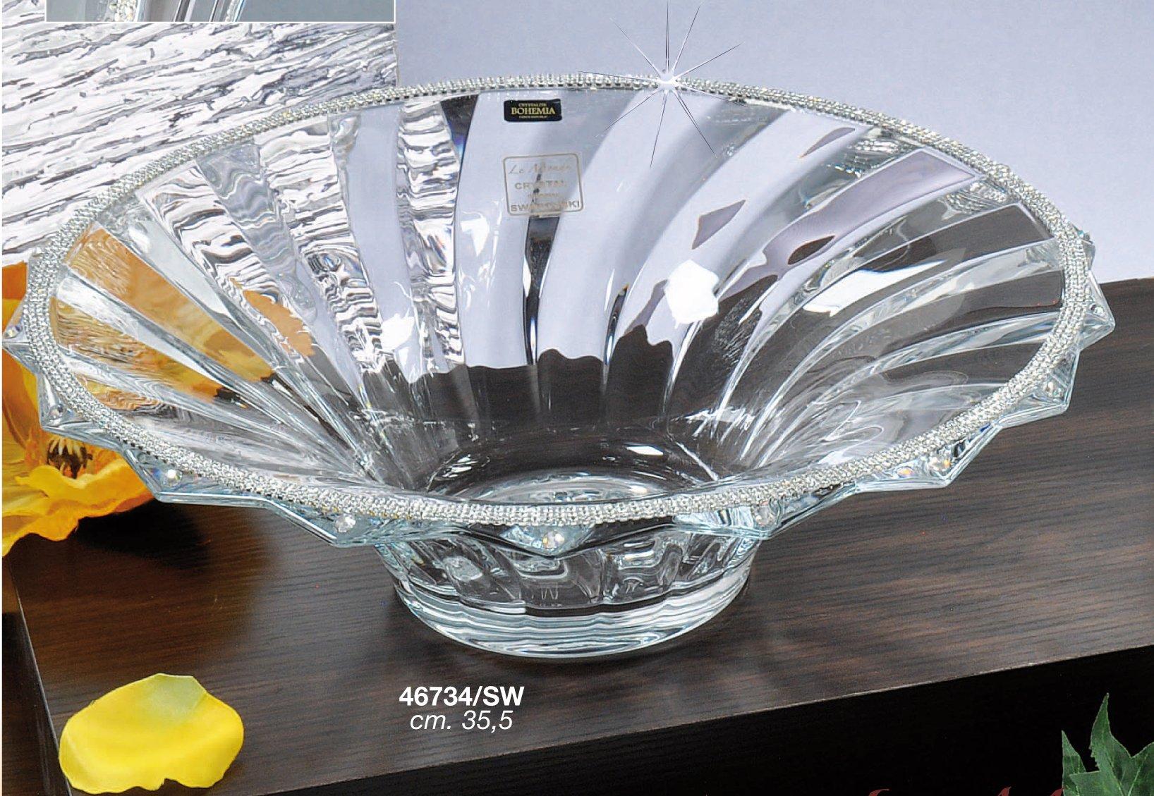 Le Monde Cadeaux, 14''D Swarovski Jeweled Crystal Vase, Decorative Elegant Centerpiece Fruit Bowl Inlaid with Crystals