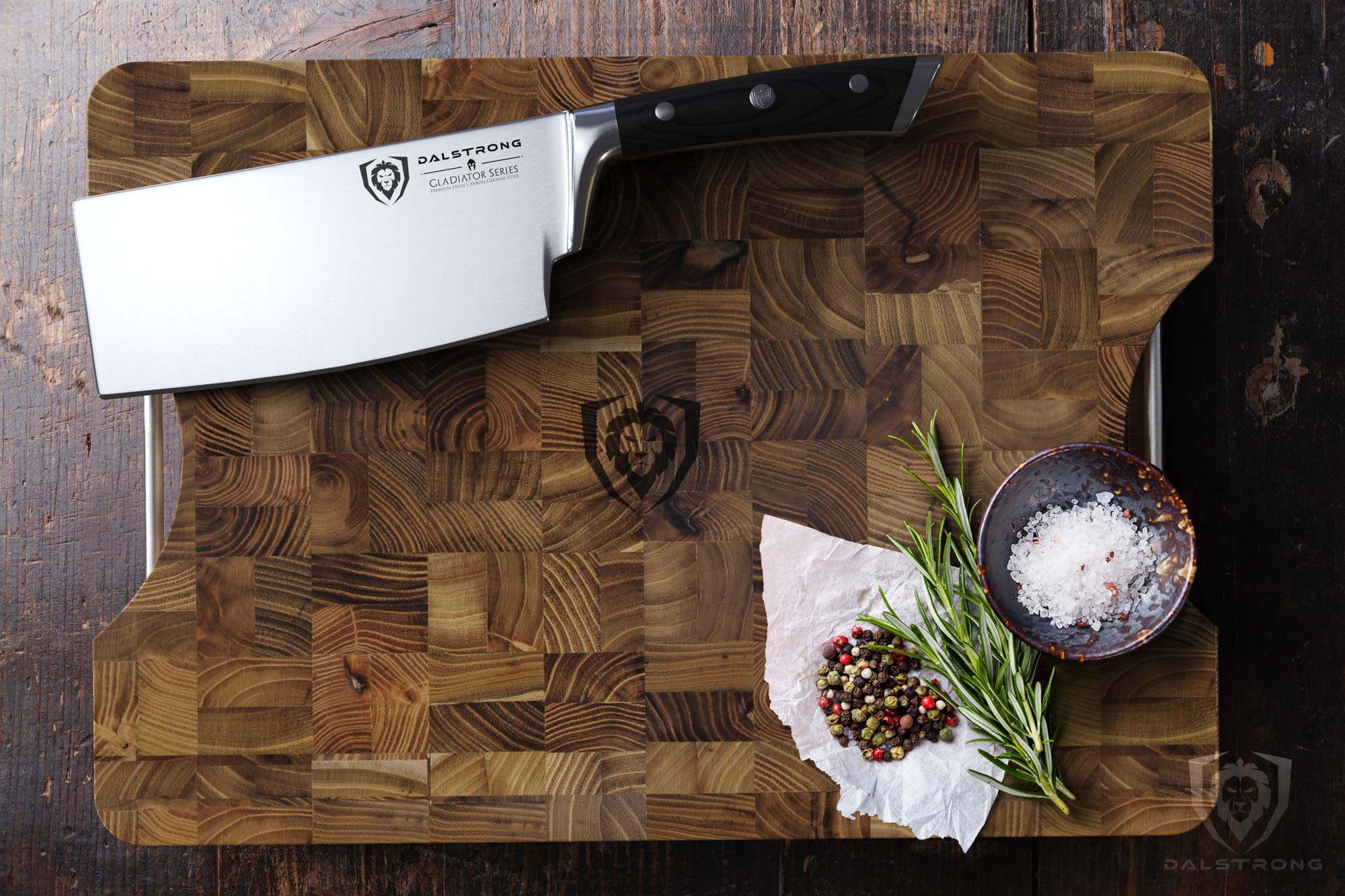 DALSTRONG Lionswood End-Grain Teak Cutting Board - Large - w/Steel Carrying Handles by Dalstrong (Image #4)