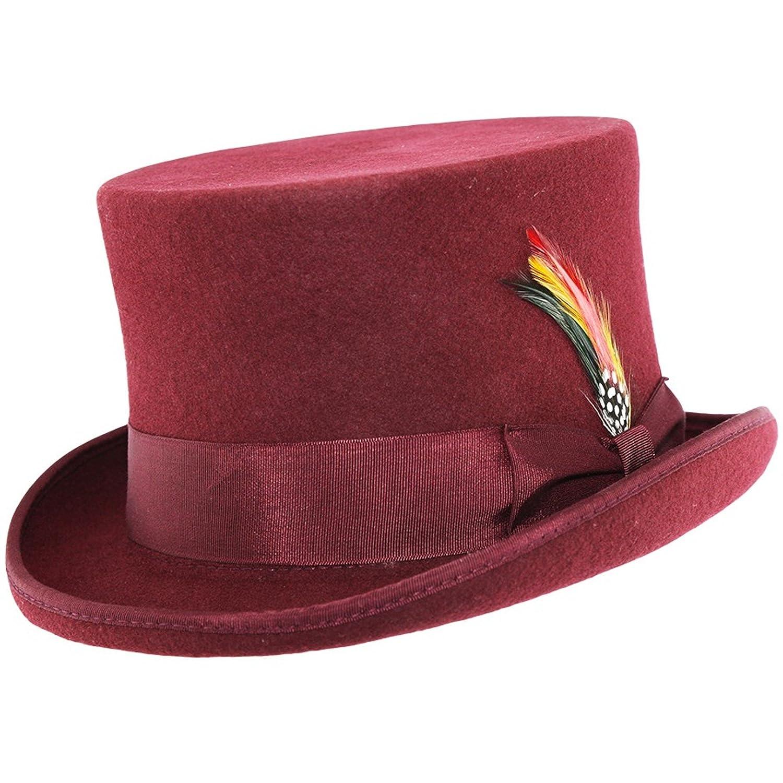 Sombrero de copa 100/% lana Maroon Rojo rojo X-Large