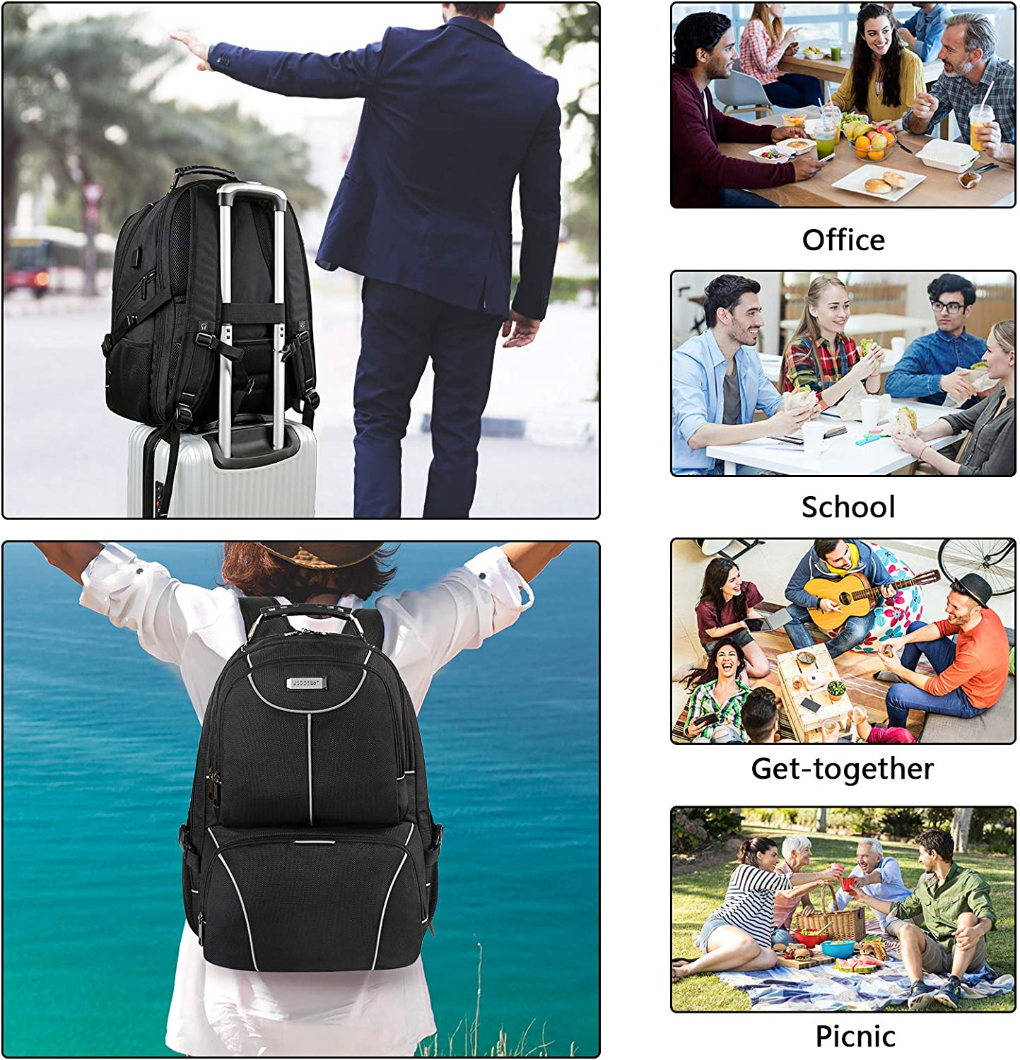 Extra Large Travel Laptop Backpack TSA Friendly RFID Durable Computer College School Bookbag with USB Port for Women Men Fits 17.3 Inch Laptop Lunch Bag Backpack Insulated Cooler Lunch Box Backpack