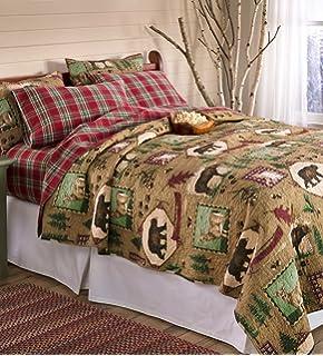Amazon.com: Greenland Home Moose Lodge Quilt Set, Full/Queen: Home ... : moose lodge quilt set - Adamdwight.com