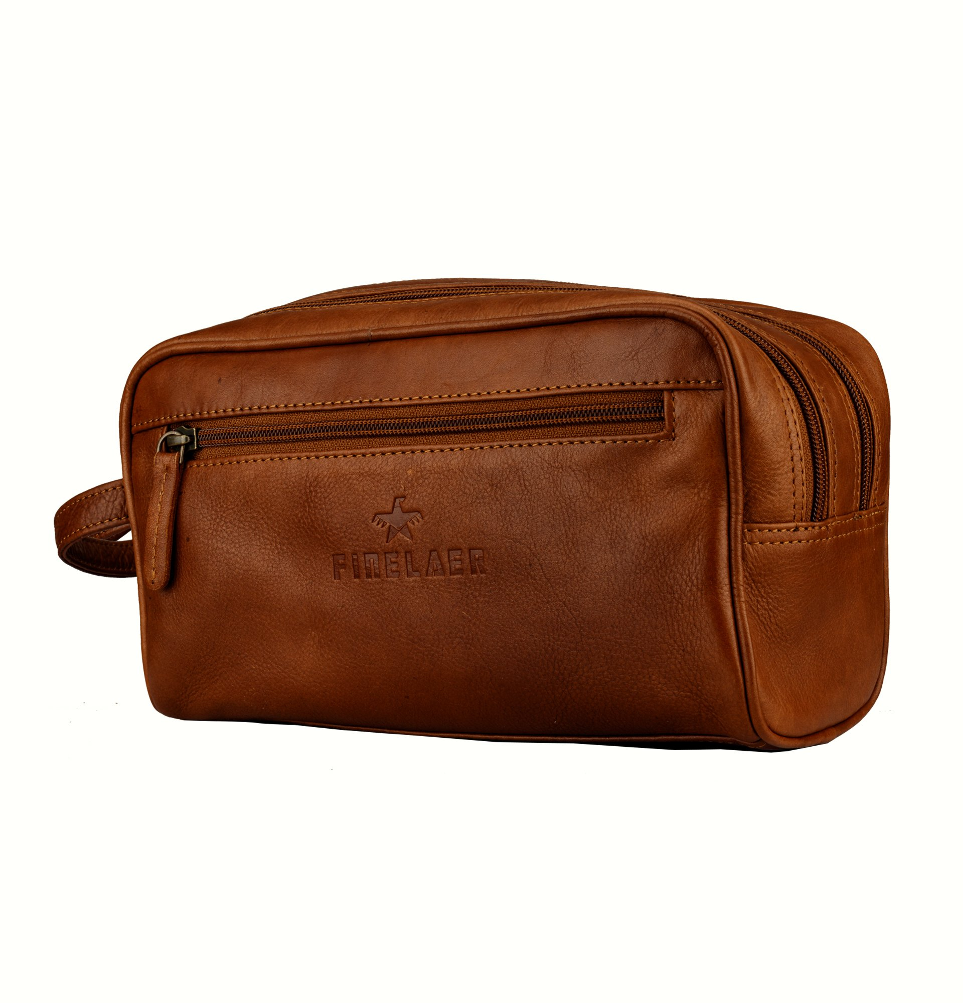 Finelaer Men Brown Leather Toiletry Travel Dopp Bag by FINELAER (Image #3)