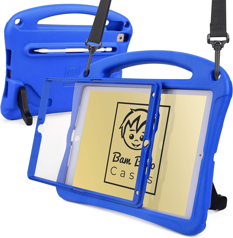 Bam Bino Space Suit [Rugged Kids Case] for 2020/2019 10.2 iPad (8th & 7th Gen), iPad Pro 10.5, iPad Air 3 | Screen Guard, Shoulder Strap (Blue)