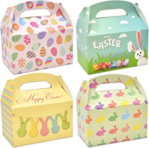 48 3D Happy Easter Cardboard Treat Boxes Paper Gable Boxes for Kids School Classroom Party Favor Supplies Decor Bunny and Eggs Easter Basket Containers Candy Goodie Cookie Box Holder by Gift Boutique