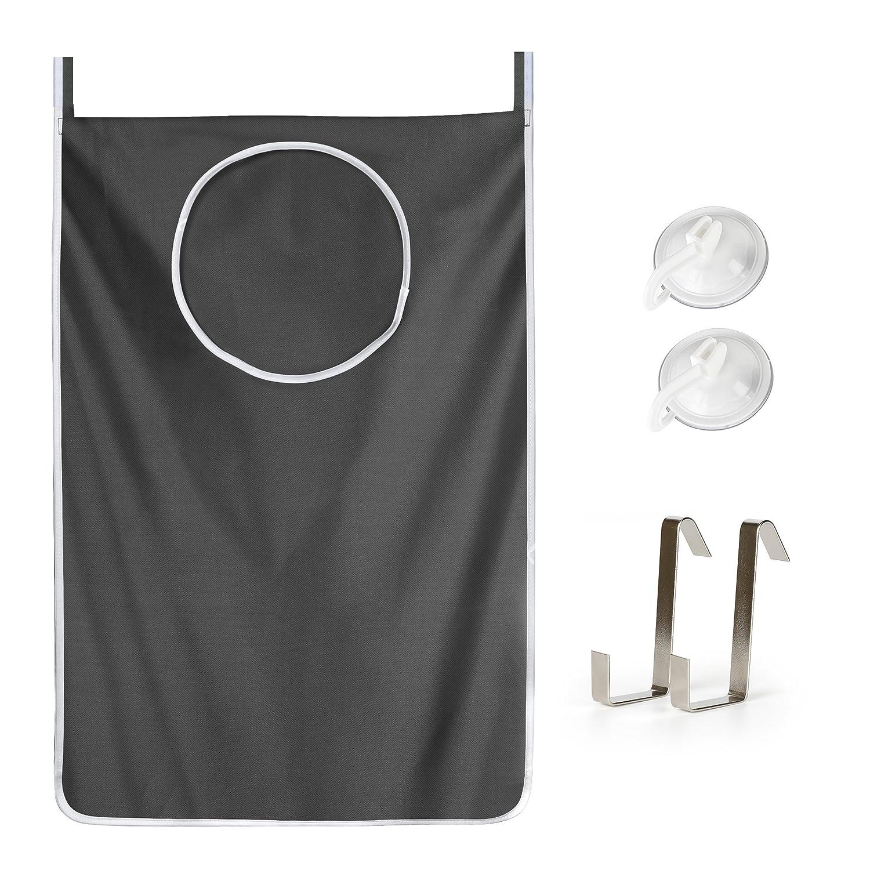 Bidear Hanging Laundry Hamper Bag, Oxford Fabric Door Back Closet Clothes Organizer, 2 Vacuum Suction Cups Hook+2 Door Metal Hook, Space Saving for Bathroom, Bedroom, College Dorm(Grey) LB