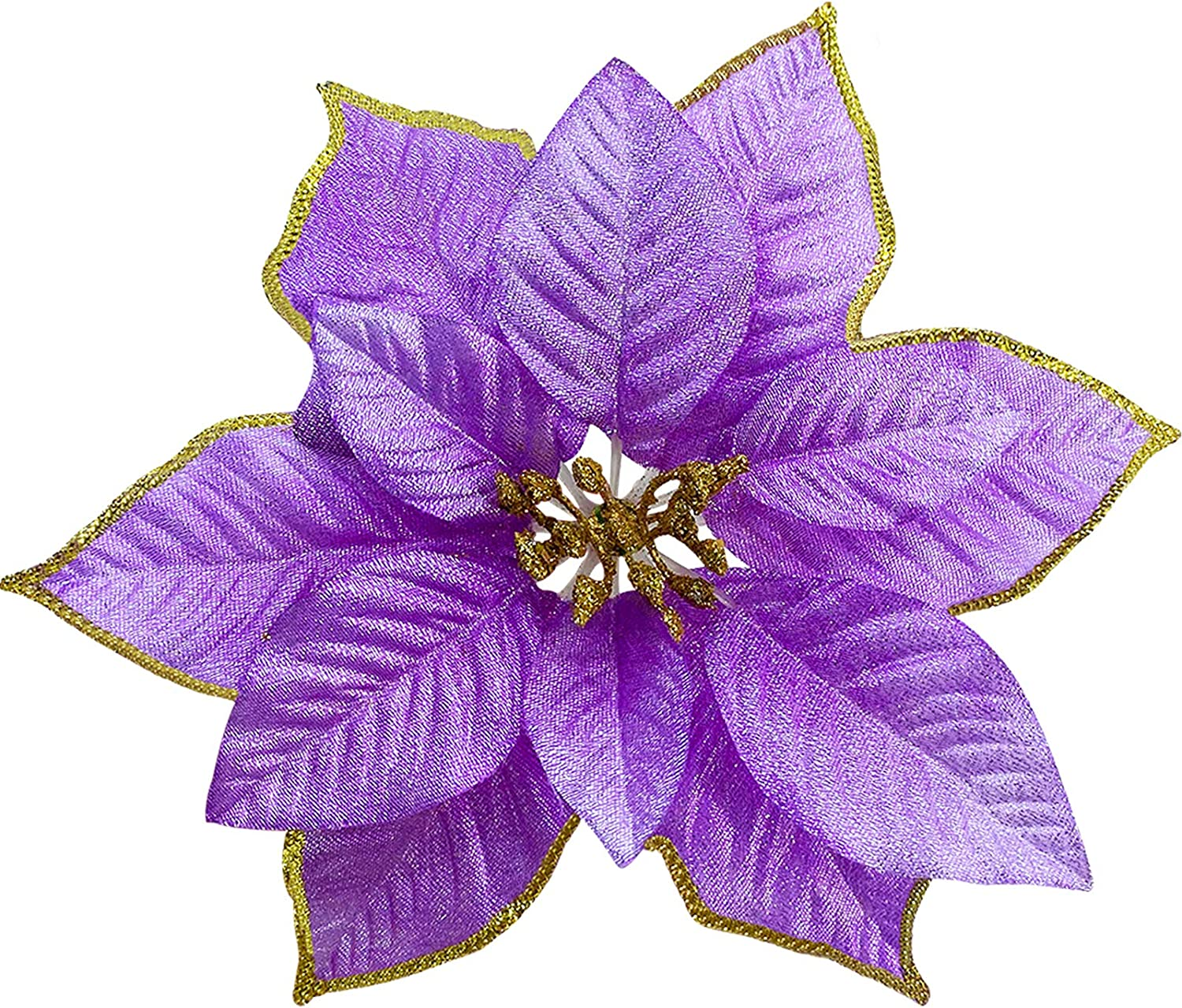 TURNMEON 8.7 Inch Giant Glitter Poinsettia, 12 Pcs Christmas Flowers Picks Decor Artificial Silk Flowers for Christmas Tree Ornaments Wreaths Garland Holiday Decoration (Purple)