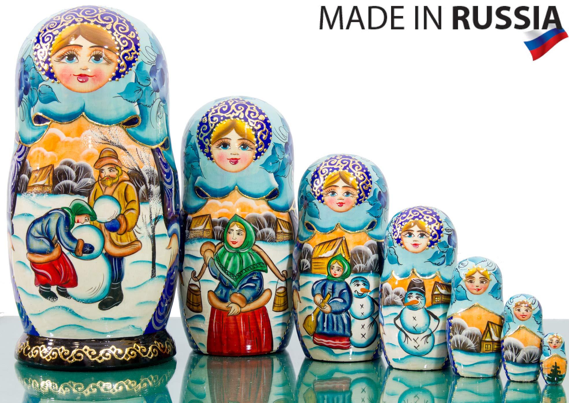 Nesting Doll - Russian Village - Hand Painted in Russia - Big Size - Wooden Decoration Gift Doll - Matryoshka Babushka (Design D, 8.25`` (7 Dolls in 1))