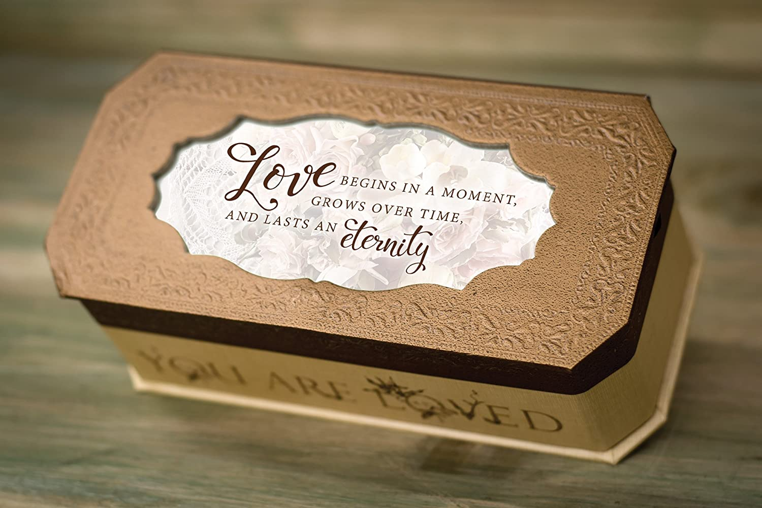 Love Begins Lasts an Eternity Copper Textured Jewelry Music Box Plays How Great Thou Art