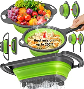 longzon Collapsible Colander Silicone [ Set of 3 ], Over The Sink Strainers 6 Quart, Diameter Sizes 8'' - 2 Quart and 9.5