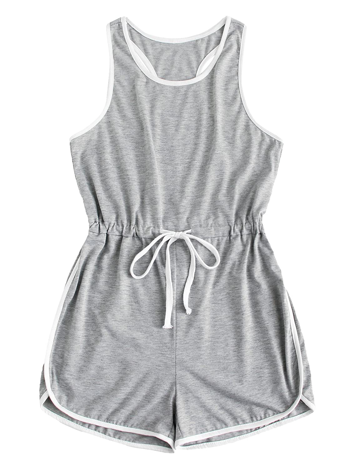 7b969721941 Amazon.com  Romwe Women s Summer Casual Sleeveless Drawstring Waist Tank  Tops Ringer Short Romper Jumpsuit Outfits  Clothing