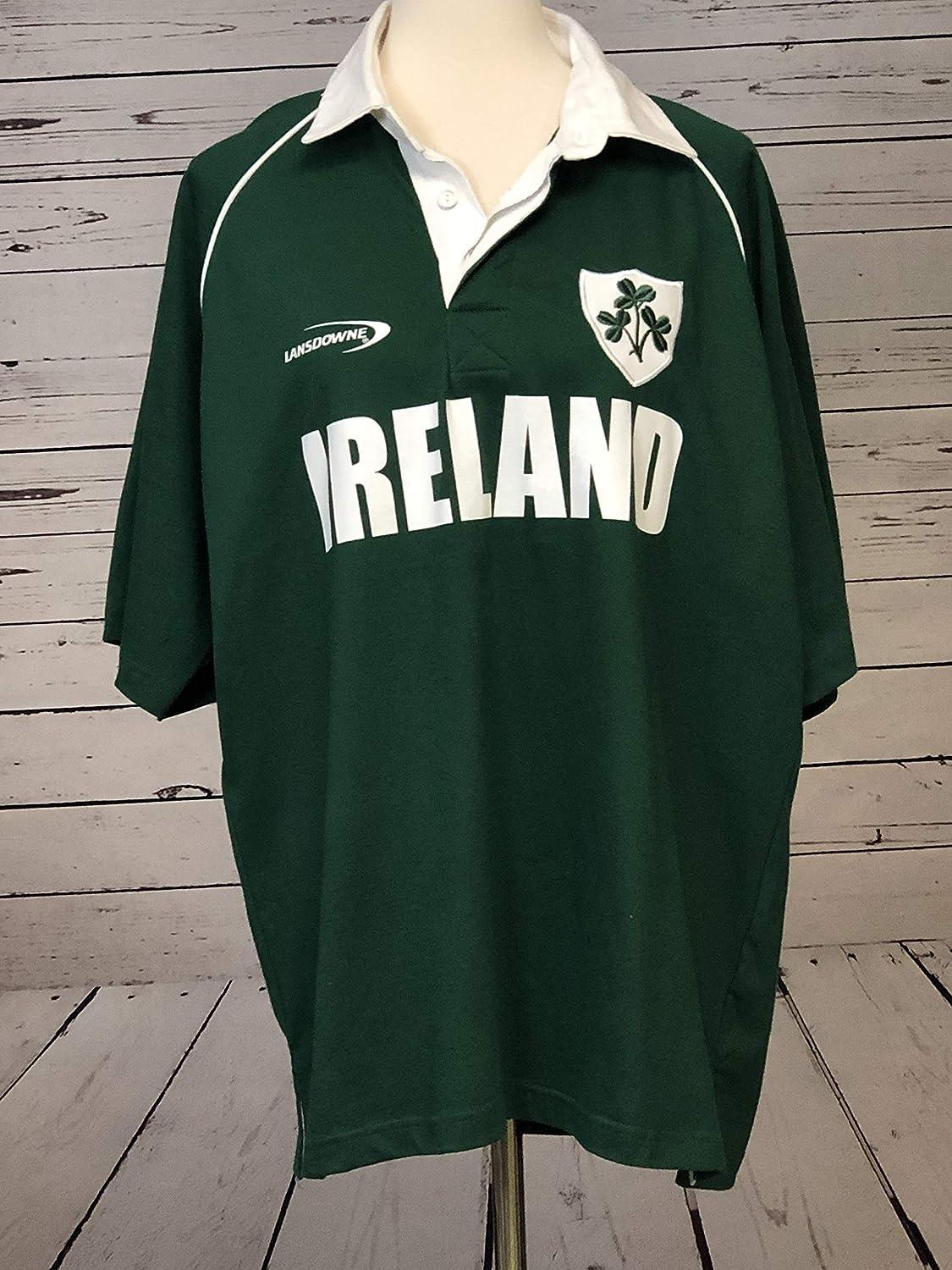Lansdowne Ireland Mens Polo Rugby Short Sleeve Shirt Large Green