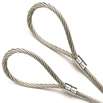 Psi Stainless Steel Cable With Looped Ends 7x19 Strand Core 1 8 Core Diameter 1ft To 75ft Made To Order Flexible Multi Purpose Diy Outdoor Safety Wire Rope Bare Amazon Com Industrial Scientific