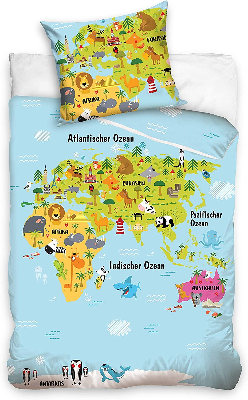 Familando World Map continents bedding set 135 x 200 cm pillow 80 x 80 cm map childrens bed linen boys 100/% cotton linon