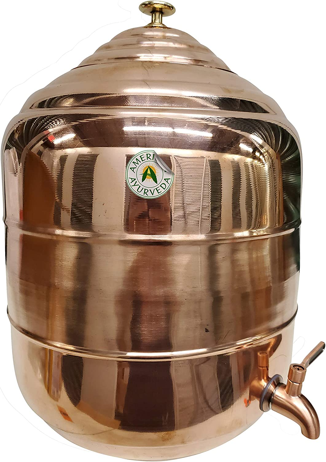 American Ayurveda Counter Top 5 Gallon Water Dispenser Copper Storage Tank/Pot With Brass Faucet Copper Charged Water Kitchen Home Health Yoga Meditation Spa