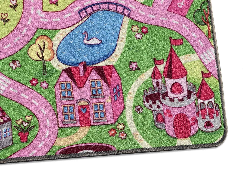 Fu/ßbodenheizung geeignet 140x200 cm Auto-Spielteppich f/ür M/ädchen Spielteppich Autoteppich Stra/ßenteppich Sweet City Anti-Schmutz-Schicht Kinderteppich Strasse