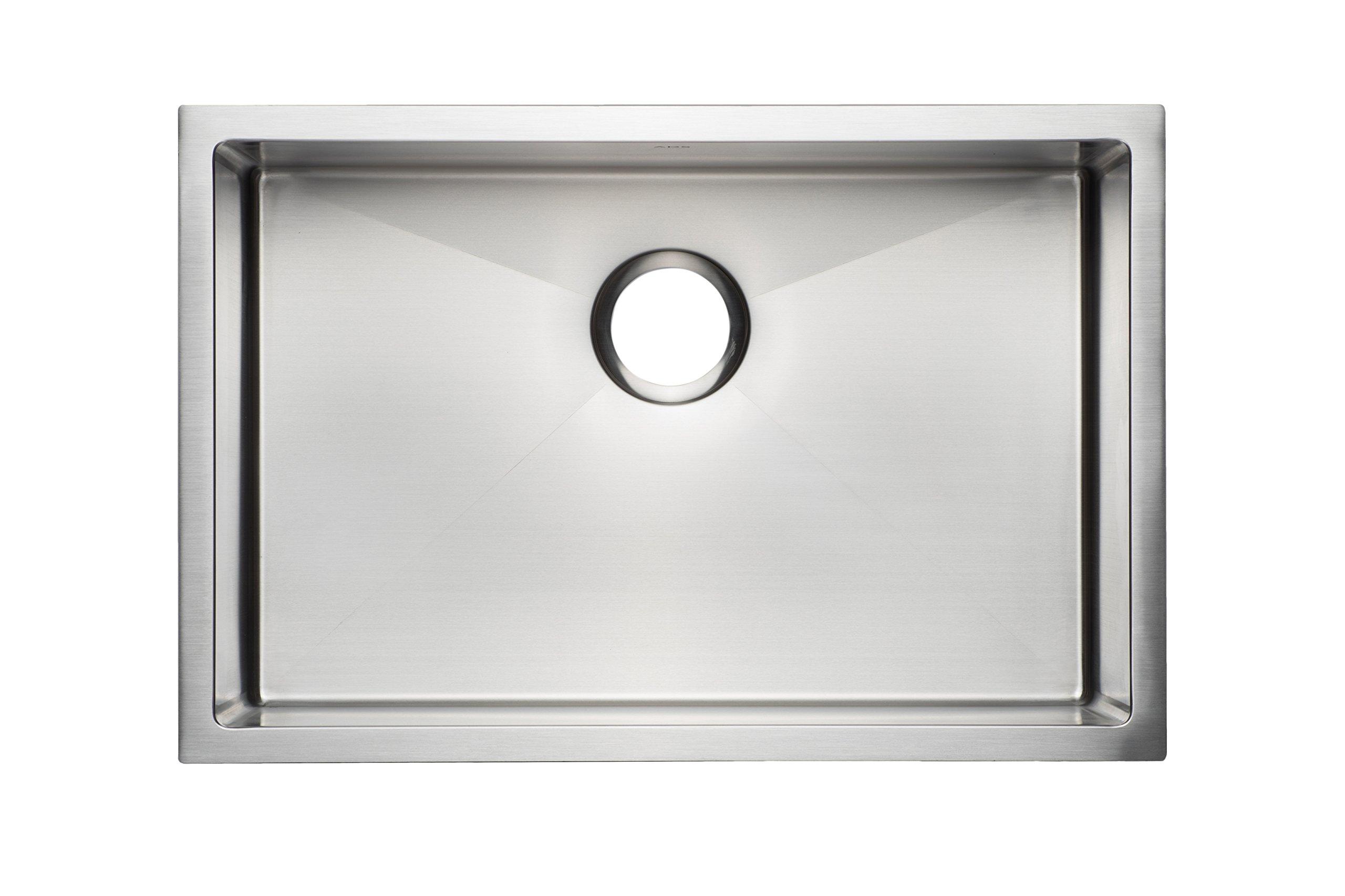 27'' Premium Quality Handmade Stainless Steel Kitchen Sink Single Bowl / Undermount 16 Gauge (30'' cabinet) by ADS