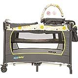 KOOL BABY Corralito para bebé con cuna, portapañales, cambiador, bolsa organizadora y moisés con barra con 2 juguetes…