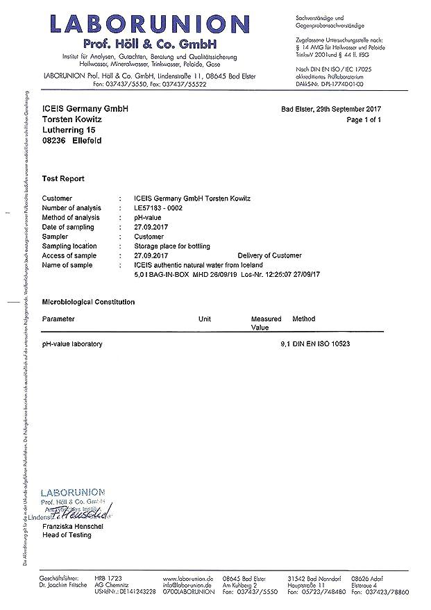 ICEIS - AGUA ALCALINA NATURAL (pH 8.8) DE UN GLACIAR EN ISLANDIA - CAJÓN DE 5 LITROS (paquete de 1): Amazon.es: Alimentación y bebidas