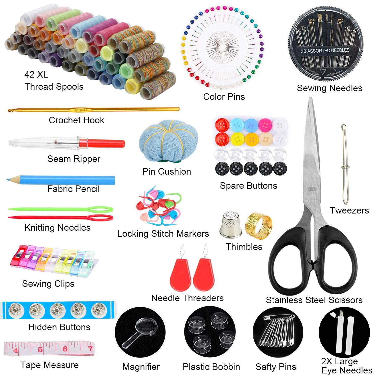 HuaQi Sewing Kit 206pack Sewing Accessories and Supplies with 42 XL Thread Spools, Sewing Needles, Scissors, Tape Measure, Thimble etc. for Traveler, Adults, Beginner, Emergency, DIY (XL-206pack)