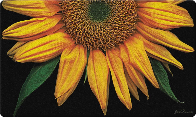 Toland Home Garden Sunflowers on Black 18 x 30-Inch Decorative Floor Mat Sunflower Portrait Flower Doormat
