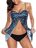 FLYILY Womens Padded Swimwear Tankinis Mesh